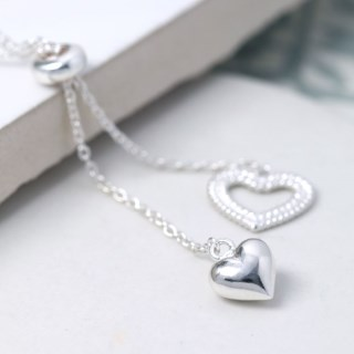 Sterling silver two hearts double drop necklace | Image 3