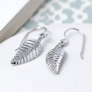 Sterling silver leaf drop earrings with CZ crystals | Image 2