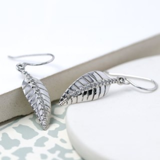 Sterling silver leaf drop earrings with CZ crystals | Image 4