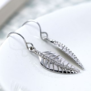 Sterling silver leaf drop earrings with CZ crystals | Image 3