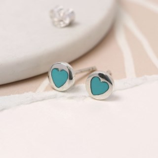 Sterling silver and turquoise heart stud earrings | Image 2