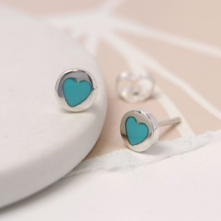 Sterling silver and turquoise heart stud earrings | Image 4
