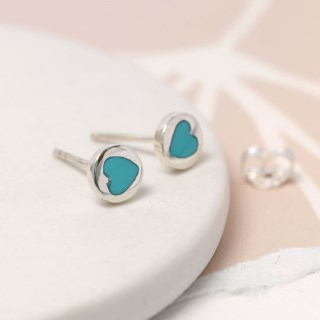 Sterling silver and turquoise heart stud earrings | Image 3