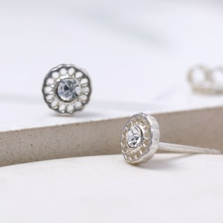 Sterling silver filigree stud earrings with crystal | Image 3