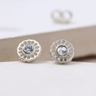 Sterling silver filigree stud earrings with crystal | Image 2