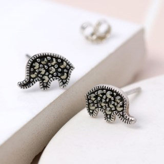Sterling silver elephant stud earrings with Marcasite gemstones | Image 5