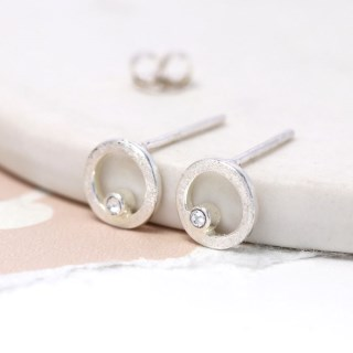 Sterling silver and Swarovski crystal circle stud earrings | Image 4