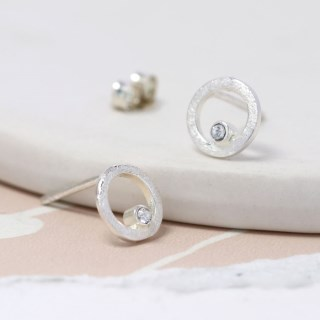 Sterling silver and Swarovski crystal circle stud earrings | Image 3