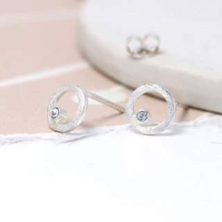 Sterling silver and Swarovski crystal circle stud earrings | Image 5