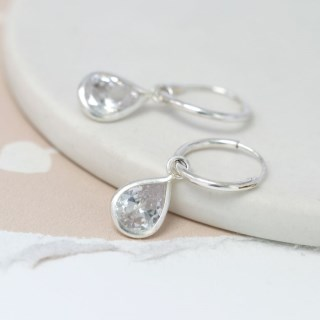 Sterling silver hoop earrings with CZ crystal teardrops | Image 3