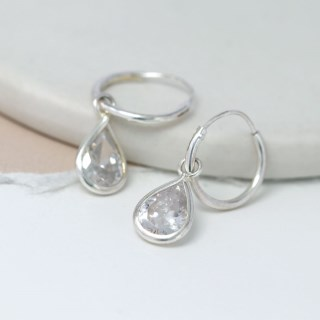 Sterling silver hoop earrings with CZ crystal teardrops | Image 4