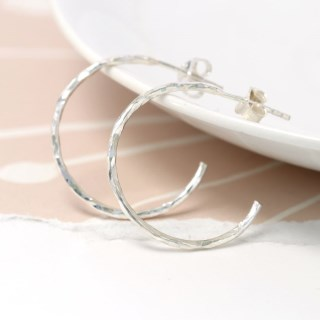 Sterling silver textured open hoop stud earrings | Image 5