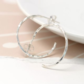 Sterling silver textured open hoop stud earrings | Image 4