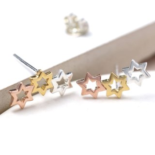 Sterling silver, gold and rose gold triple star earrings | Image 5