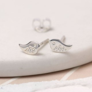 Sterling silver little bird stud earrings with stamped detail | Image 4