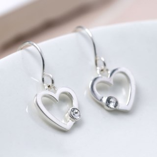 Sterling silver heart drop earrings with crystal | Image 5