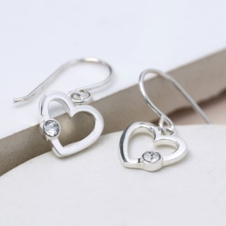 Sterling silver heart drop earrings with crystal | Image 3