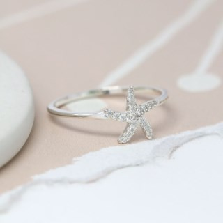 Sterling silver starfish fine band ring with CZ crystals | Image 4