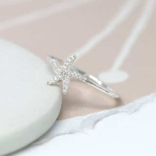 Sterling silver starfish fine band ring with CZ crystals | Image 3