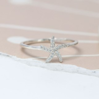 Sterling silver starfish fine band ring with CZ crystals | Image 2