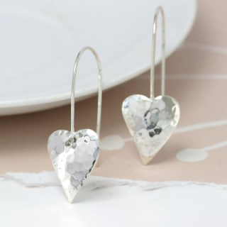 Sterling silver hammered heart drop earrings | Image 3