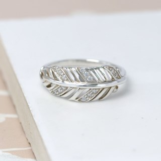 Sterling silver feather ring with crystal detailing | Image 3