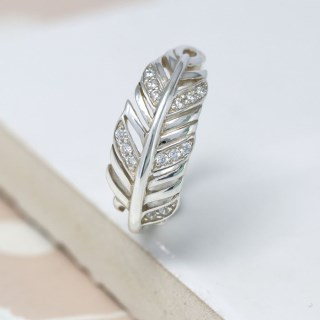Sterling silver feather ring with crystal detailing | Image 5