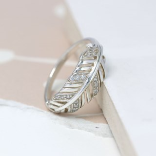 Sterling silver feather ring with crystal detailing | Image 4