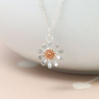 Sterling silver daisy necklace with real rose gold detailing | Image 4