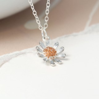 Sterling silver daisy necklace with real rose gold detailing | Image 3