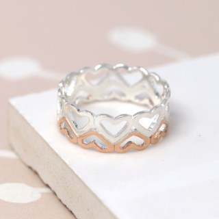 Sterling silver and rose gold double row of hearts ring | Image 4
