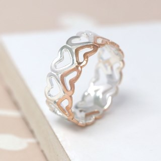 Sterling silver and rose gold double row of hearts ring | Image 3