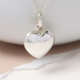 Sterling silver rounded heart pendant on a silver chain | Image 5