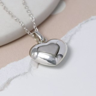 Sterling silver rounded heart pendant on a silver chain | Image 4