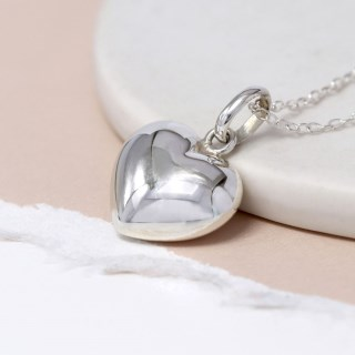 Sterling silver rounded heart pendant on a silver chain | Image 3