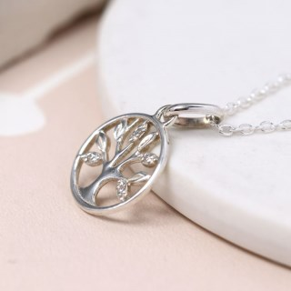 Sterling silver tree of life necklace with crystal detailing | Image 4
