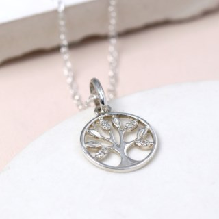 Sterling silver tree of life necklace with crystal detailing | Image 5