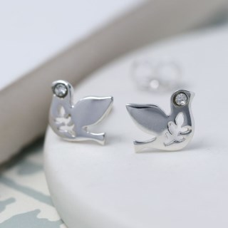 Sterling silver dove earrings with crystal detail | Image 3