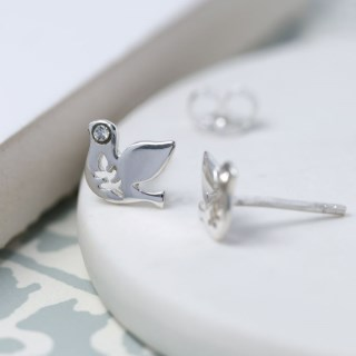 Sterling silver dove earrings with crystal detail | Image 2