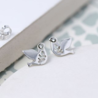 Sterling silver dove earrings with crystal detail | Image 4