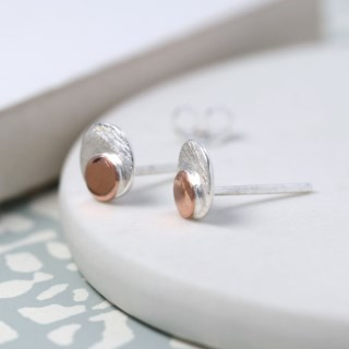 Sterling silver and rose gold double disc stud earrings | Image 3