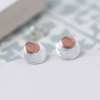 Sterling silver and rose gold double disc stud earrings | Image 4