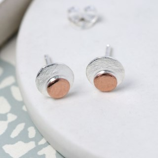 Sterling silver and rose gold double disc stud earrings | Image 2