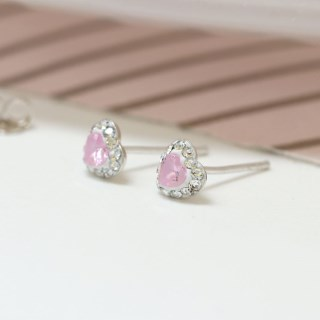 Sterling silver and pink crystal heart stud earrings | Image 2