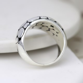 Sterling silver ring with smooth multi pebble finish | Image 2