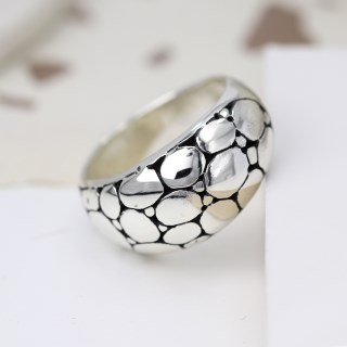 Sterling silver ring with smooth multi pebble finish | Image 3