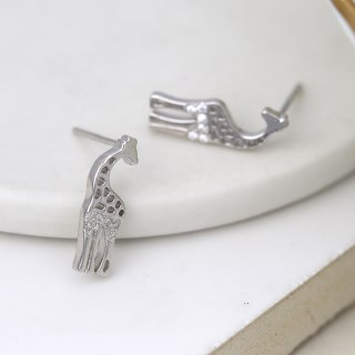 Sterling silver giraffe stud earrings with crystals | Image 3
