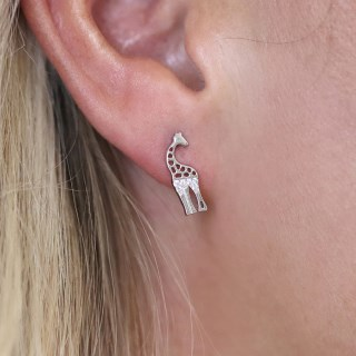 Sterling silver giraffe stud earrings with crystals | Image 4