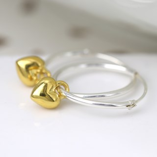 Sterling silver fine hoop earrings with gold plated hearts | Image 2