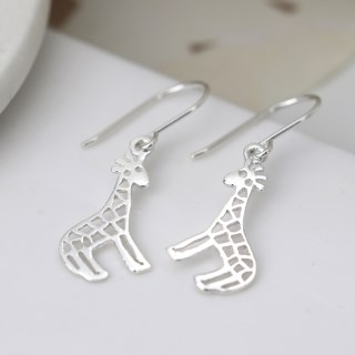 Sterling silver giraffe drop earrings with cut-out detailing | Image 2